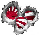 Bullet Hole Torn Metal 3 Shots With JDM Rising Sun Flag Car Sticker 95x85mm